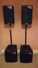Alto Truesonic active PA speakers, poles and leads - AS NEW