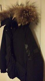Down jacket Redskins with fur hood. Size M. Style Ottawa Scotch Black