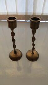 Brass Candlesticks x2.