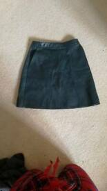 Green PU leather a-line mini skirt from zara. Size 8.