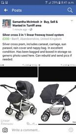 3 in 1 travel system. Silver cross linear freeway