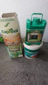 CUPRINOL SPRAY & BRUSH, ONE COAT SPRAYABLE FOREST GREEN AND TUB OF FOREST GREEN PAINT