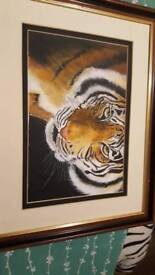 Hand painted acrylic tiger picture