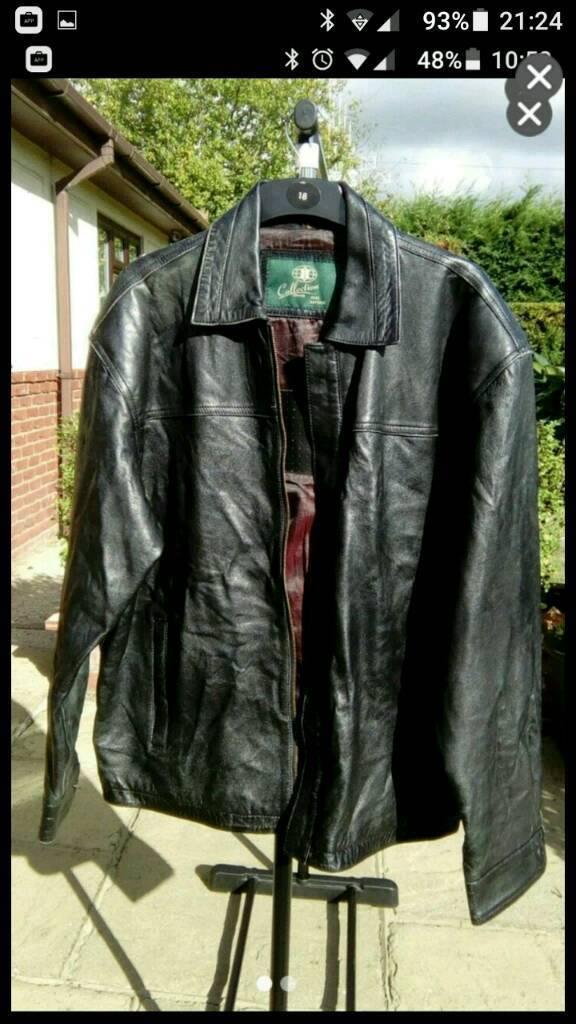 Men's vintage real leather jacket, large