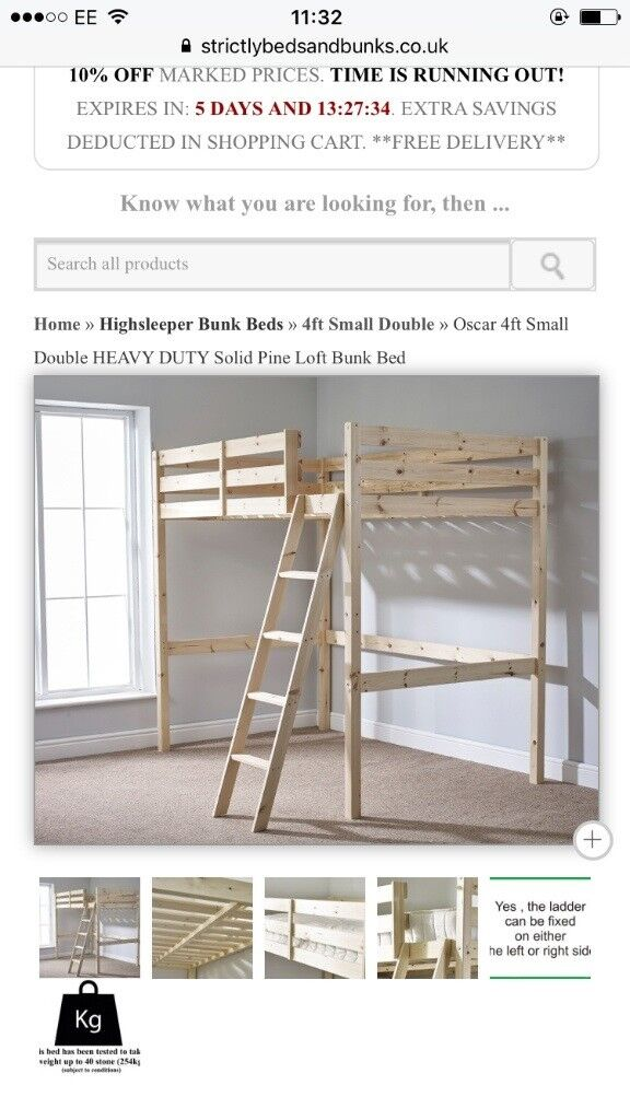 Small double pine loft bed / bunk bed with mattress RRP 450, SELLING FOR £250
