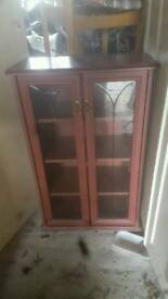 Wooden glass fronted display cabinet