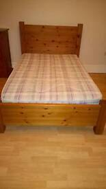 Small double solid pine bed