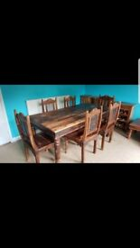Solid sheesham dinning table and 6 chairs