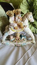 "ROCKING HORSE FIGURINE ORNAMENT 2 TEDDY BEARS ON ITS BACK 8.5"" X 8.5"""