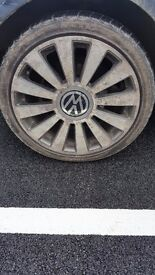 Four 18inch alloys and tyres fit vw golf bora audi etc