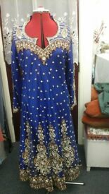 Ladies bollywood indian style royal blue dress