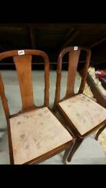 Pair of Vintage Solid Wood Chairs