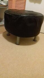 retro black leather faced foot stool