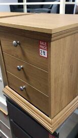 bedside - oak - metal handles - 3 drawers - ex display