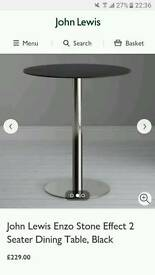 John lewis Stone effect 2 seater Dining table (new)