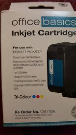 2 x office basics inkjet cartridge tri-colour hewlett packard