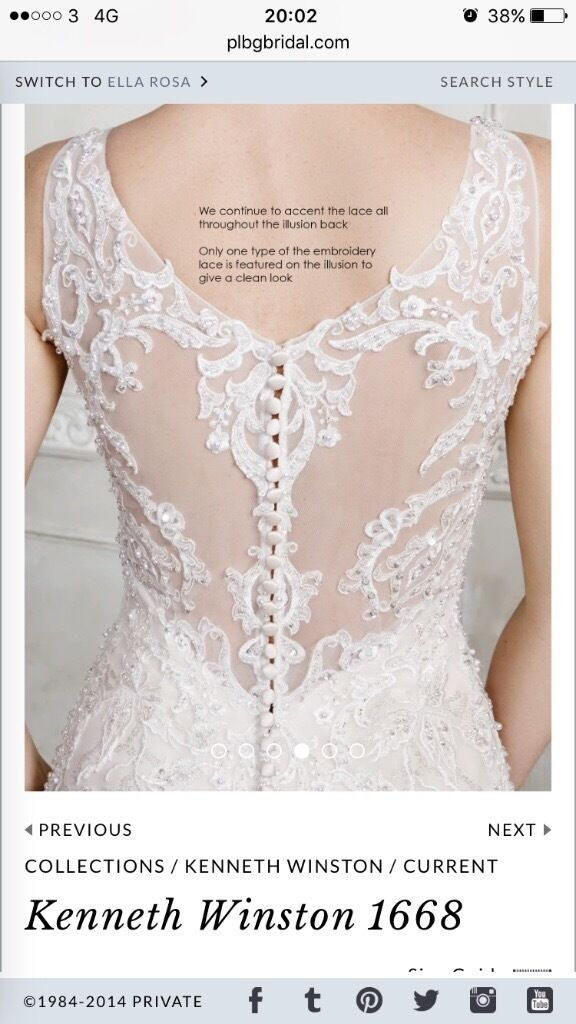Absolteuly stunning ex-catwalk Kenneth Winston bridal gown. Size 10. £1070 OIRO. RRP £1750