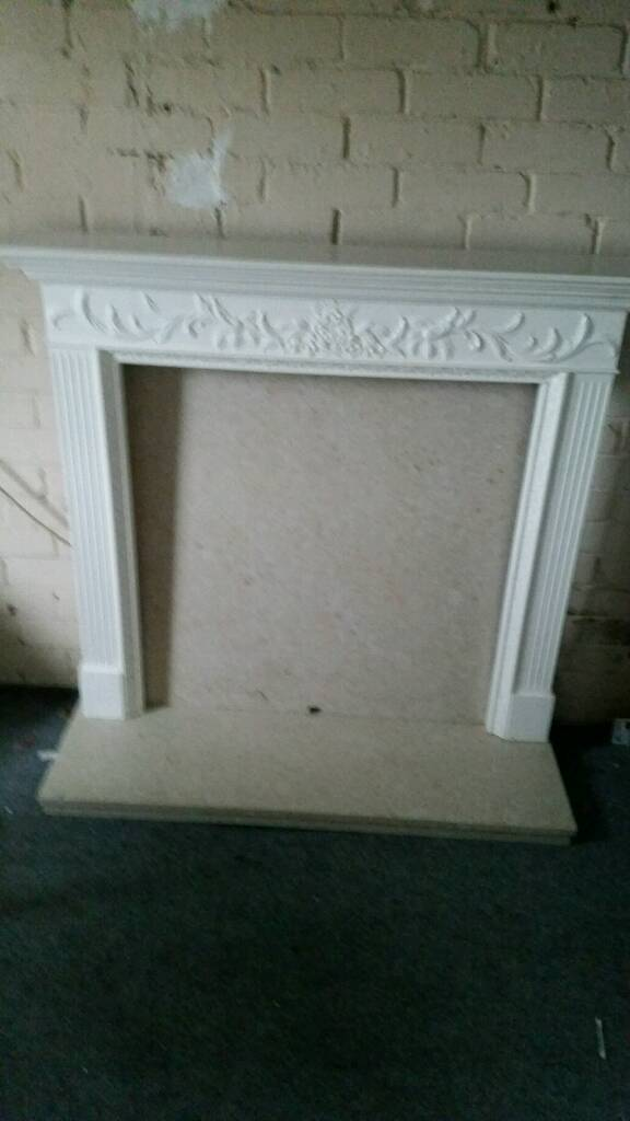 Marble back plate and hearth with fibreglass mantle piece