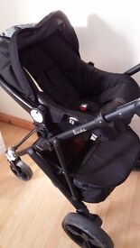 Bambini Riviera 3 in 1 pink and black travel system