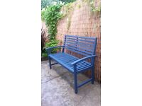 Blue wooden garden bench FREE DELIVERY
