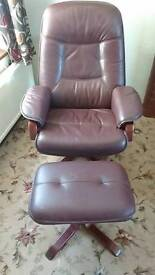 Leather recliner chair with footstall
