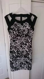 Dress - black and white cage style leopard dress size 8