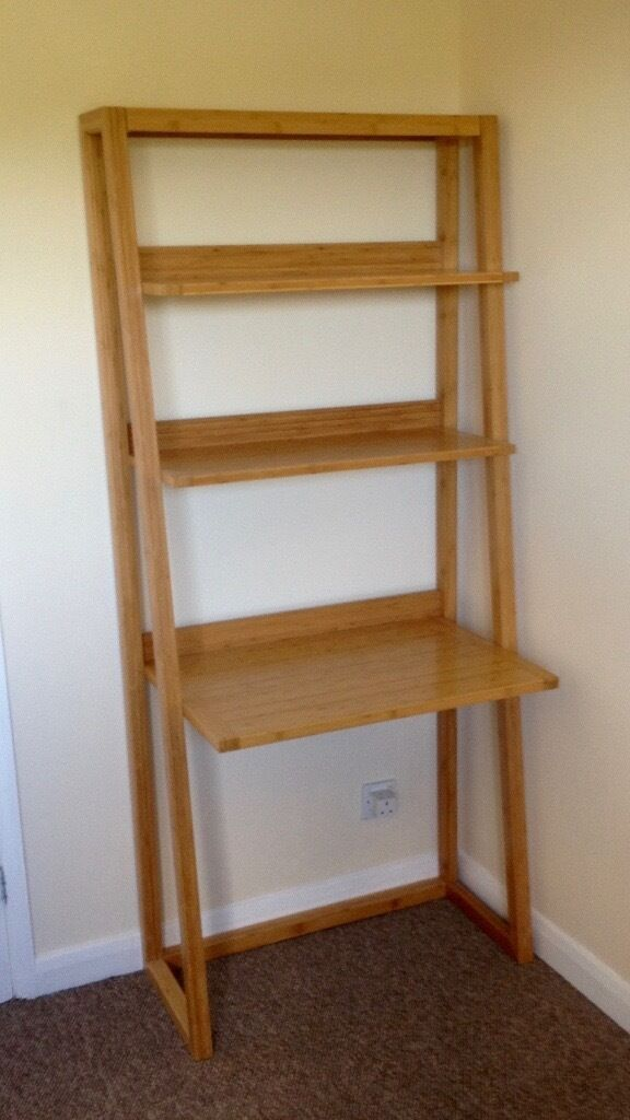 Computer Desk/Shelf Unit in solid woodin Chesterfield, DerbyshireGumtree - Computer desk wall unit in solid bamboo wood, really nice and practical in excellent condition. Size Width 80.5cm x Max Depth 50cm x Height 180cm Self assembly, all fittings complete