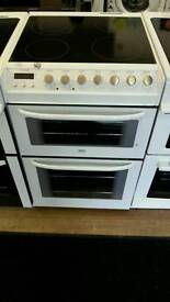 ZANUSSI 55CM ELECTRIC DOUBLE OVEN COOKER IN WHITE
