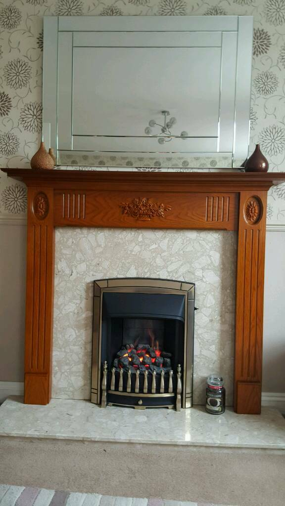 Adams Style Fire Surround with Flavel coal effect gas fire