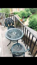 Balcony/garden table and two chairs