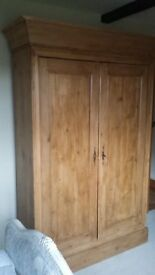 Antique pine double wardrobe. Original panel assembly, pegs only, solid base/ top. Simple lock/ key