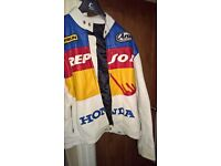 Repspol vintage leather biker jacket , size L