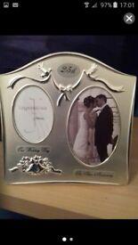 Silver wedding frame.