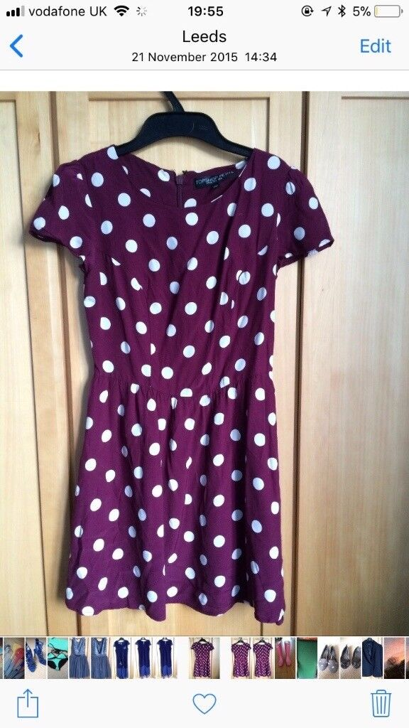 Polka dot burgundy Top Shop skater dress. Size 8