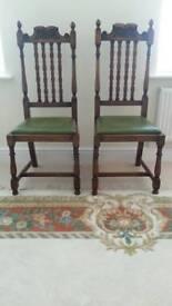 Antique Oak Chairs (Pair)