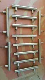 Brushed stainless steel 128 mm kitchen handles x 14