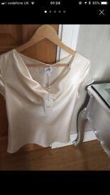Armani cream silk blouse cowl neck( 14)