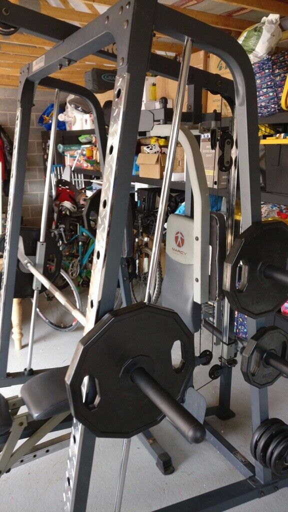Ammcobus marcy sm4000 deluxe home gym smith machine with weight bench