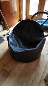 Brown faux leather bean bag