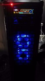 Gaming PC - i7 4770k, 8gb RAM, 500gb SSD, 2TB HDD, LED lights and fans, 750 watt PSU, FHD monitor