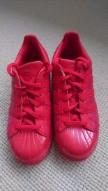 Red Adidas superstar - size 6 - only worn a couple of times!