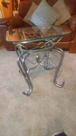 Glass coffee table and side tables glass /silver/gold detail