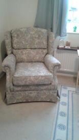 Wing chair,floral cloth pattern ,comfortable chair excellent condition suit senior person