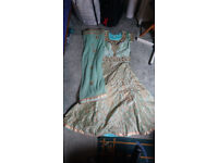 Sari Lengha, with blouse. Light green with Gold detailing. Never Worn