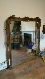 Old French Antique Overmantle Gilt Mirror