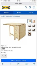 Ikea nordon fold away and drawer table