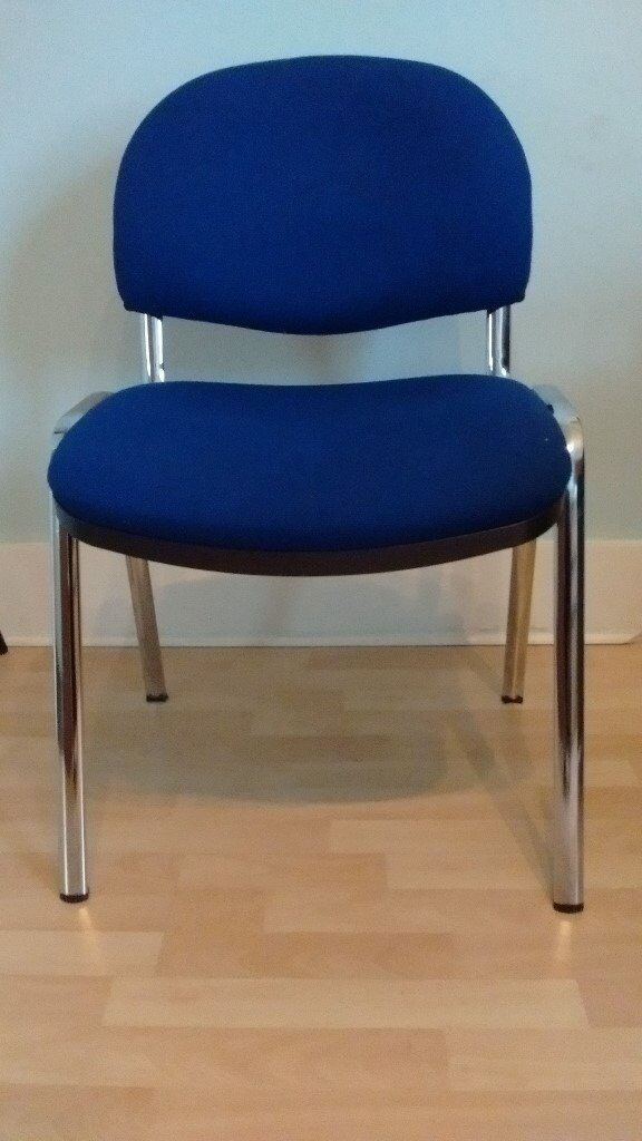 Royal blue and chrome padded banquet chair - 3 available