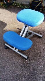 Blue kneeling desk chair