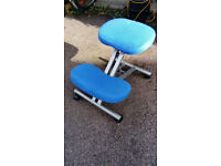 Blue kneeling desk chair