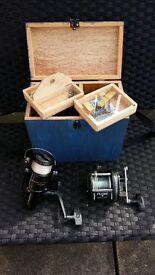 sea fishing kit rods, reels tackle and box